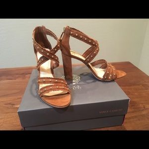 NWT Vince Camuto leather suede sandal heels
